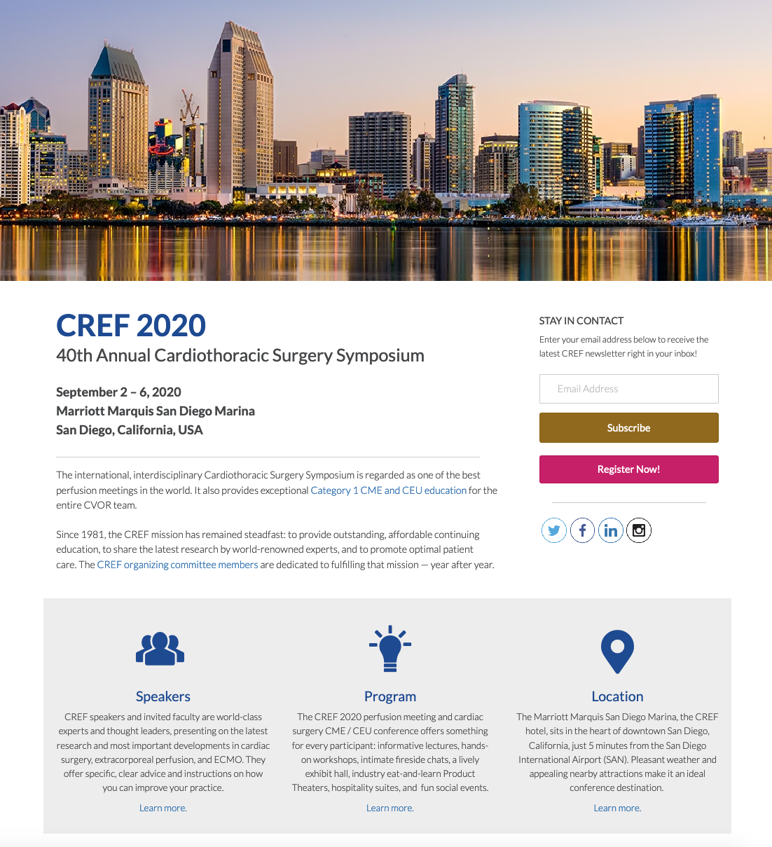 medical conference planner for CREF meeting San Diego